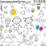 Adesivo para Cofrinho Kit Dia das Criancas para colorir