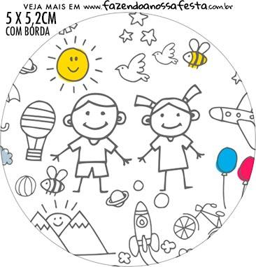 Adesivo redondo Dia das Criancas para colorir