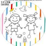 Adesivo redondo personalizado Kit Dia das Criancas para colorir