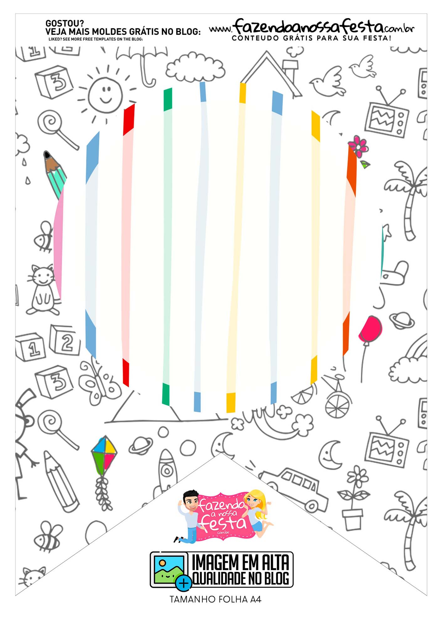 Bandeirinha 2 Dia das Criancas para colorir