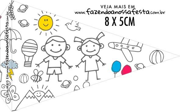 Bandeirinha Sanduiche para imprimir Dia das Criancas para colorir
