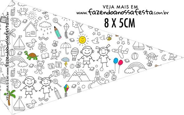 Bandeirinha Sanduiche personalizado Dia das Criancas para colorir