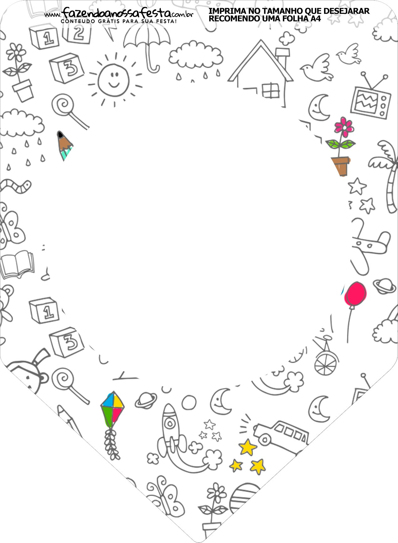 Bandeirinha Varalzinho Dia das Criancas para colorir