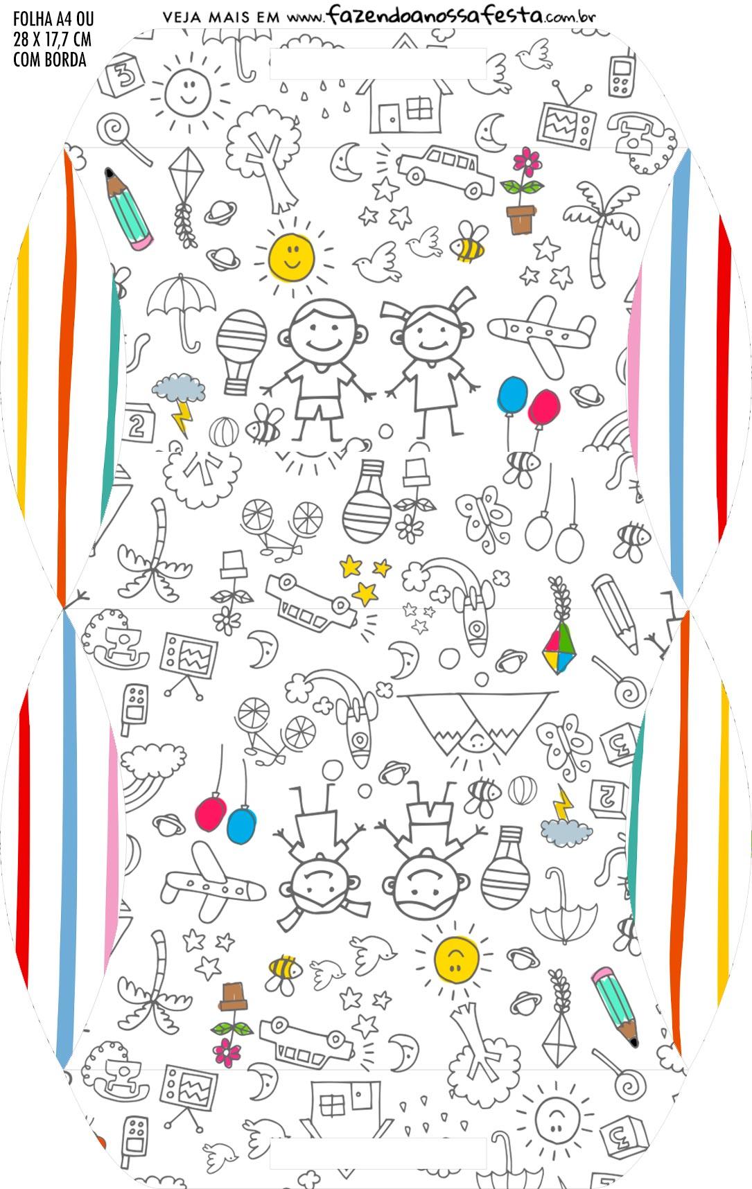 Caixa Almofada bolsinha Kit Dia das Criancas para colorir