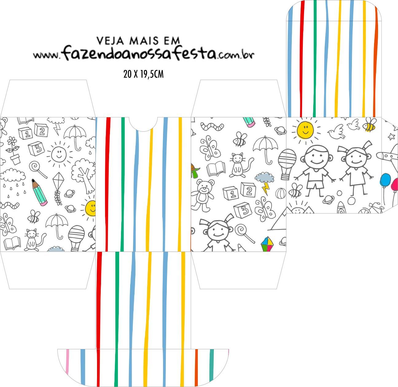 Caixa Baleiro Dia das Criancas para colorir