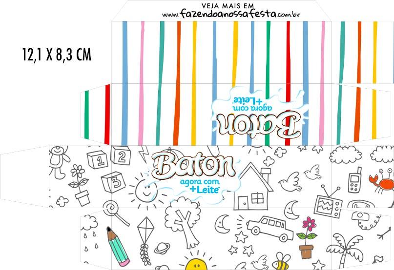 Caixa Baton Dia das Criancas para colorir