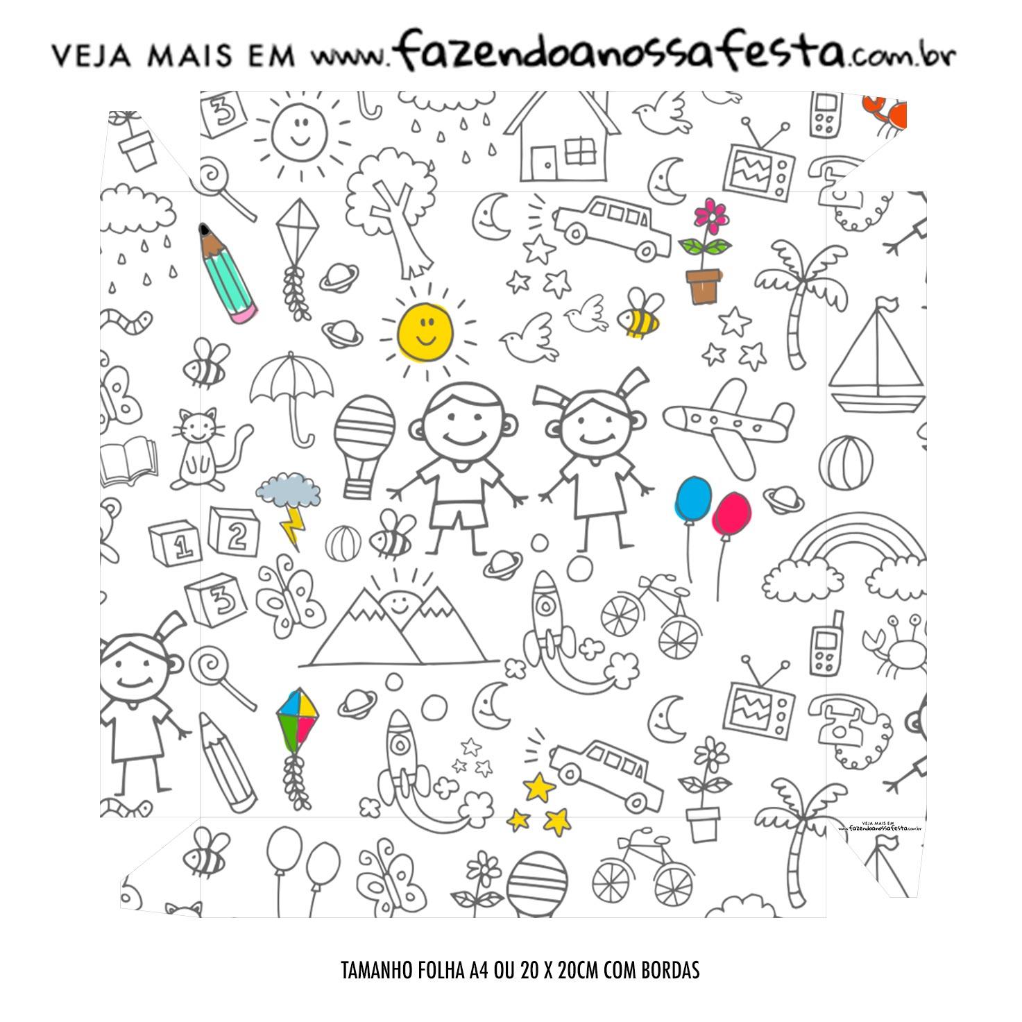 Caixa Bombom Tampa Dia das Criancas para colorir