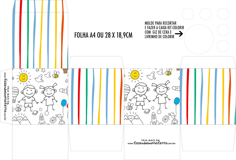 Caixa Kit Colorir Dia das Criancas para colorir