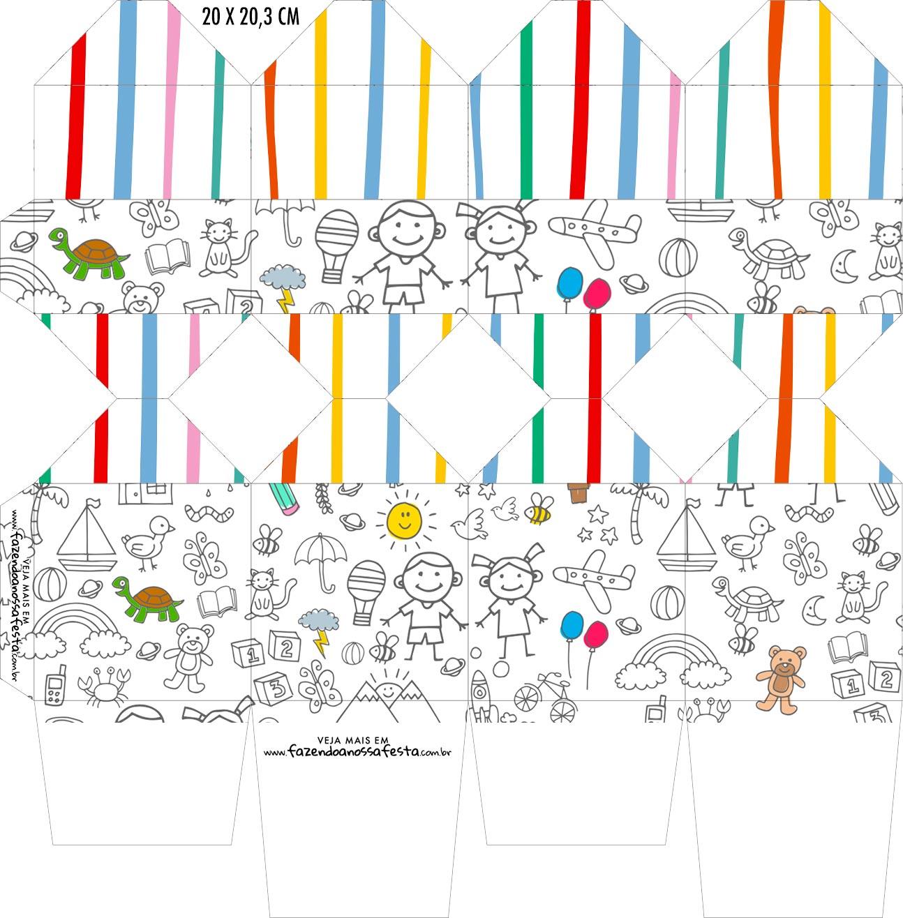 Caixa Meia Bala Dia das Criancas para colorir
