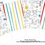 Caixa Pipoca Dia das Criancas para colorir