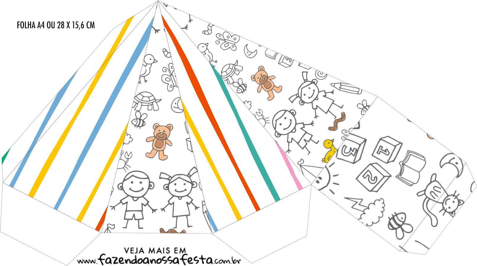 Caixa Piramide Dia das Criancas para colorir