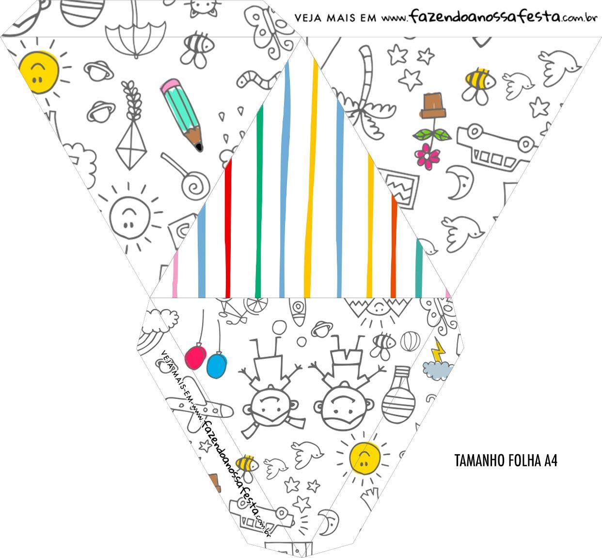 Caixa Piramide Personalizada Dia das Criancas para colorir