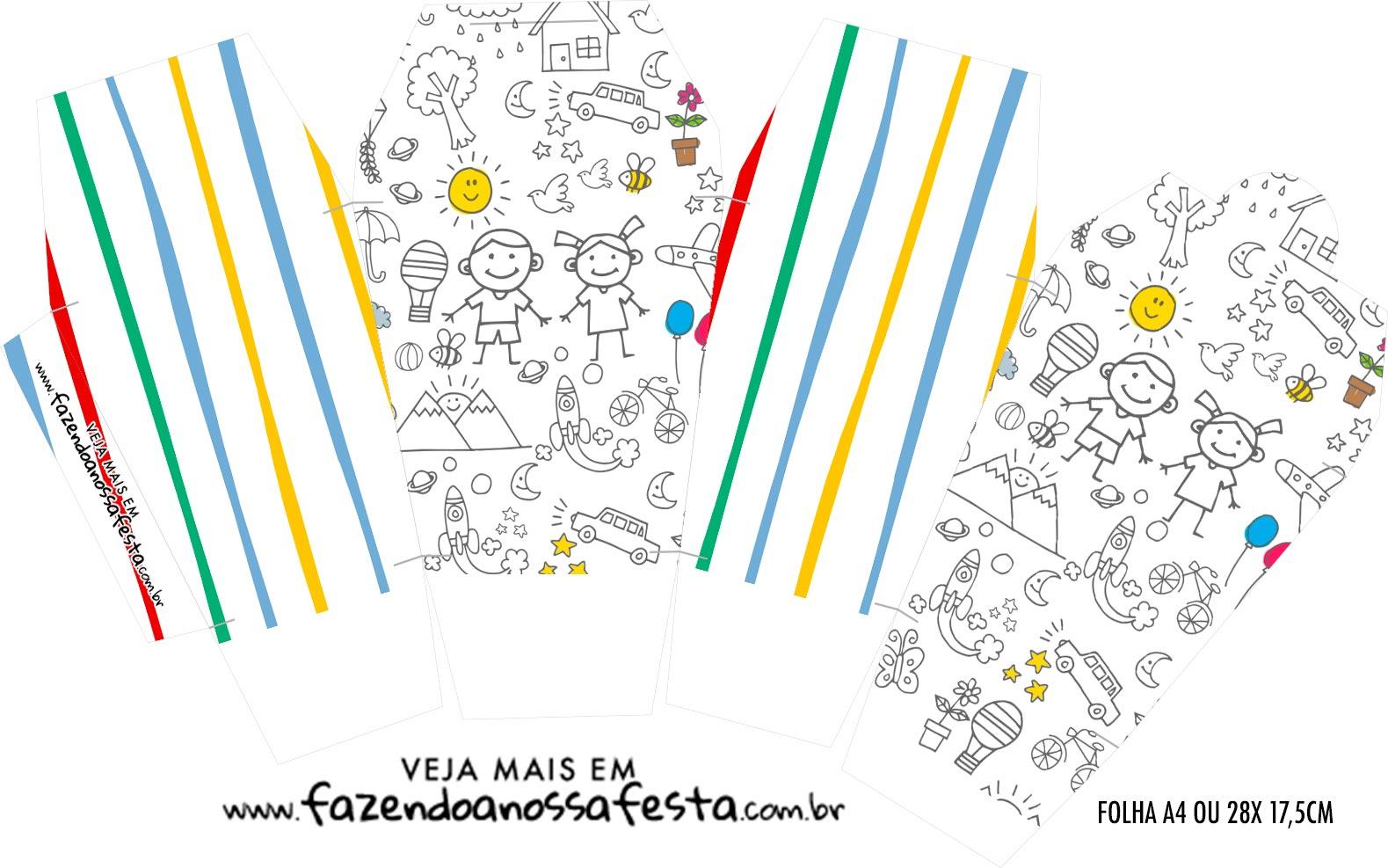 Caixinha China in Box Dia das Criancas para colorir