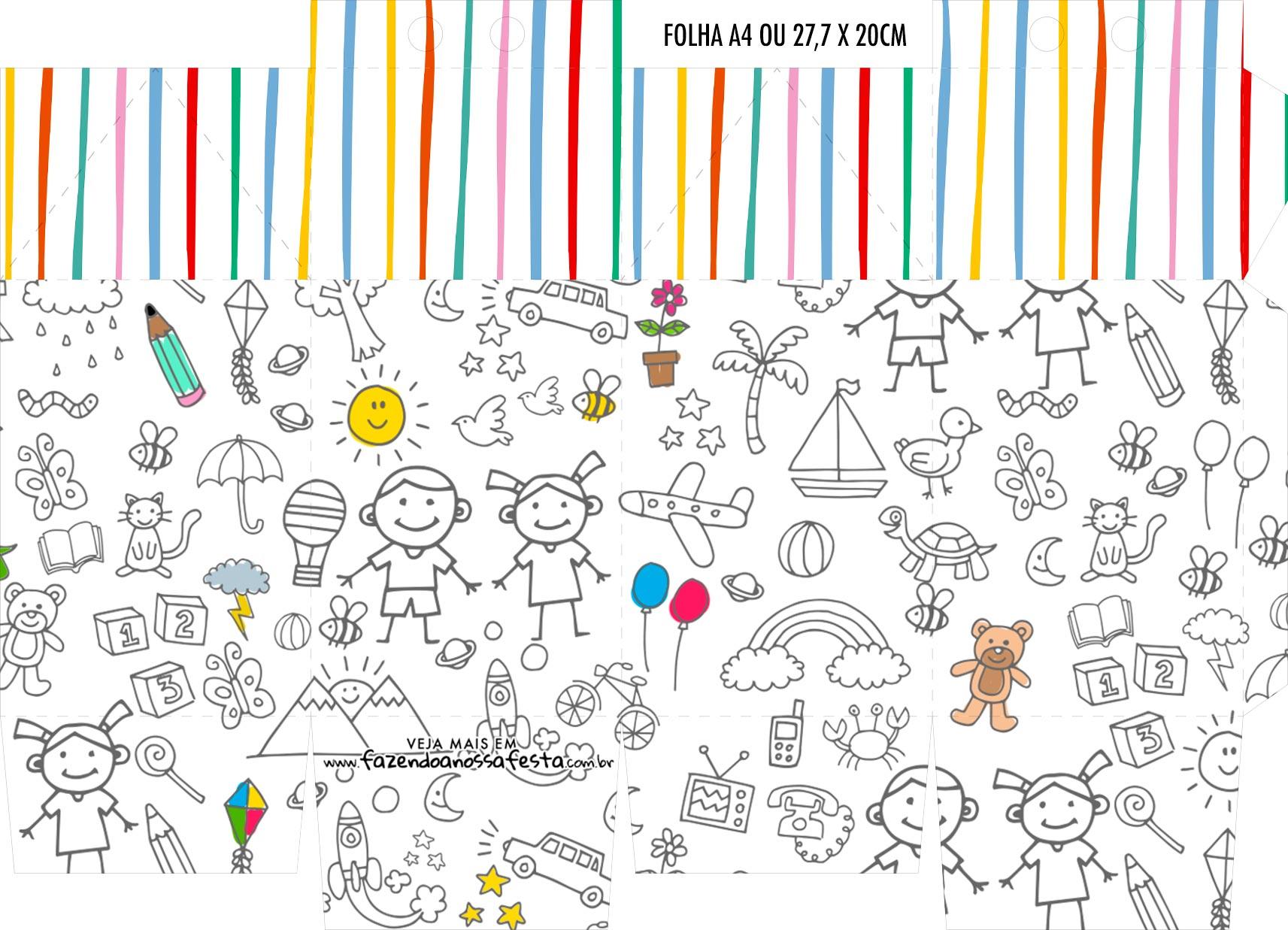 Caixinha Milk Dia das Criancas para colorir
