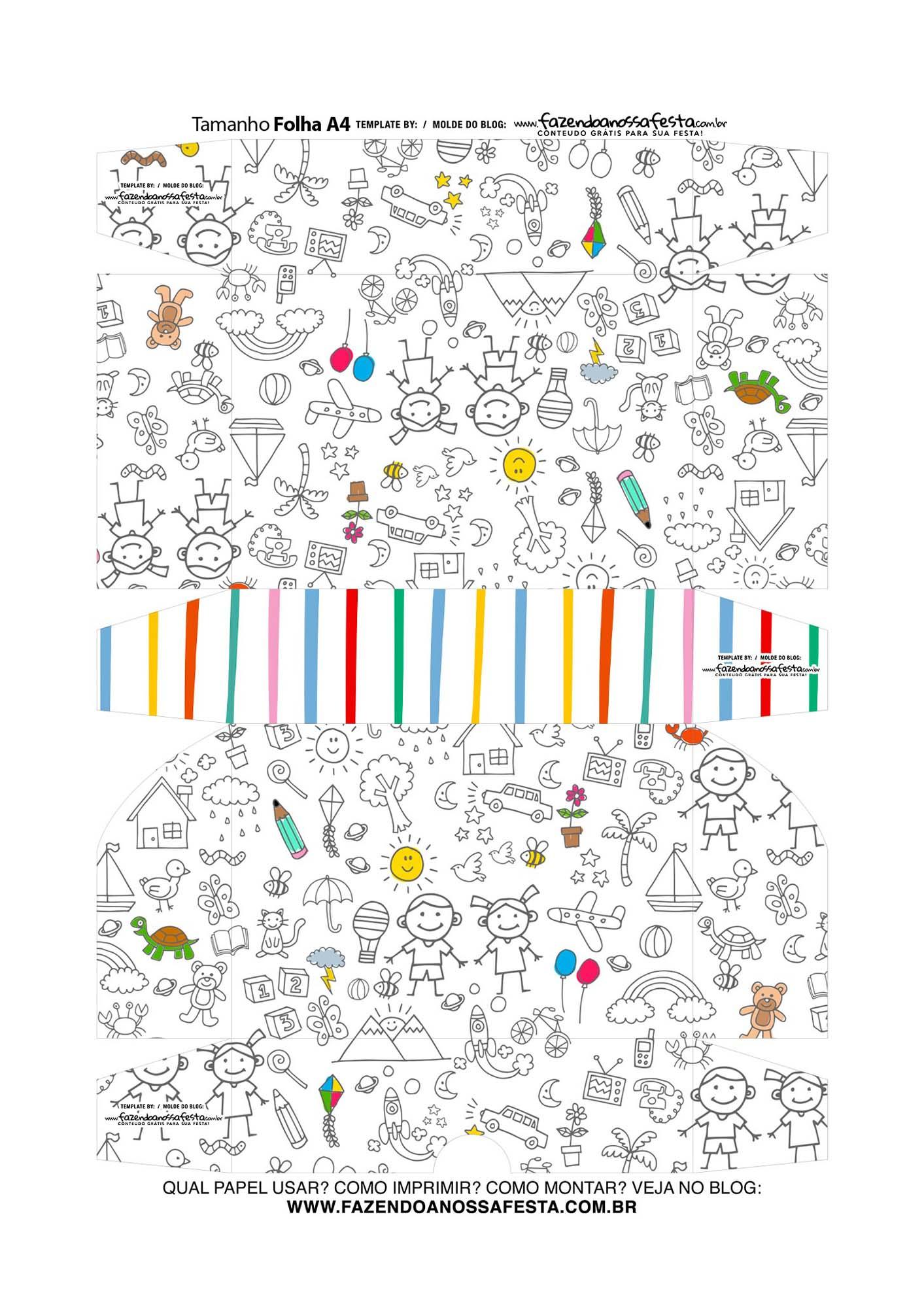 Caixinha de Docinho Dia das Criancas para colorir