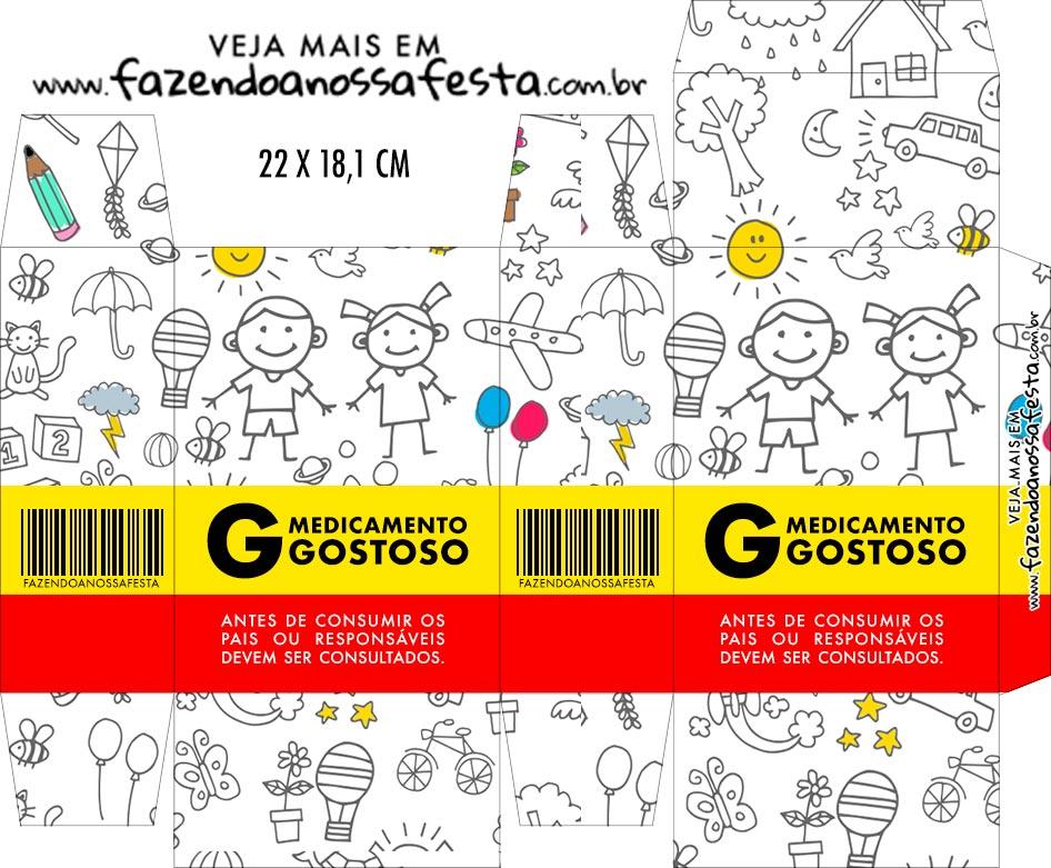 Caixinha de Remedio Personalizada Dia das Criancas para colorir
