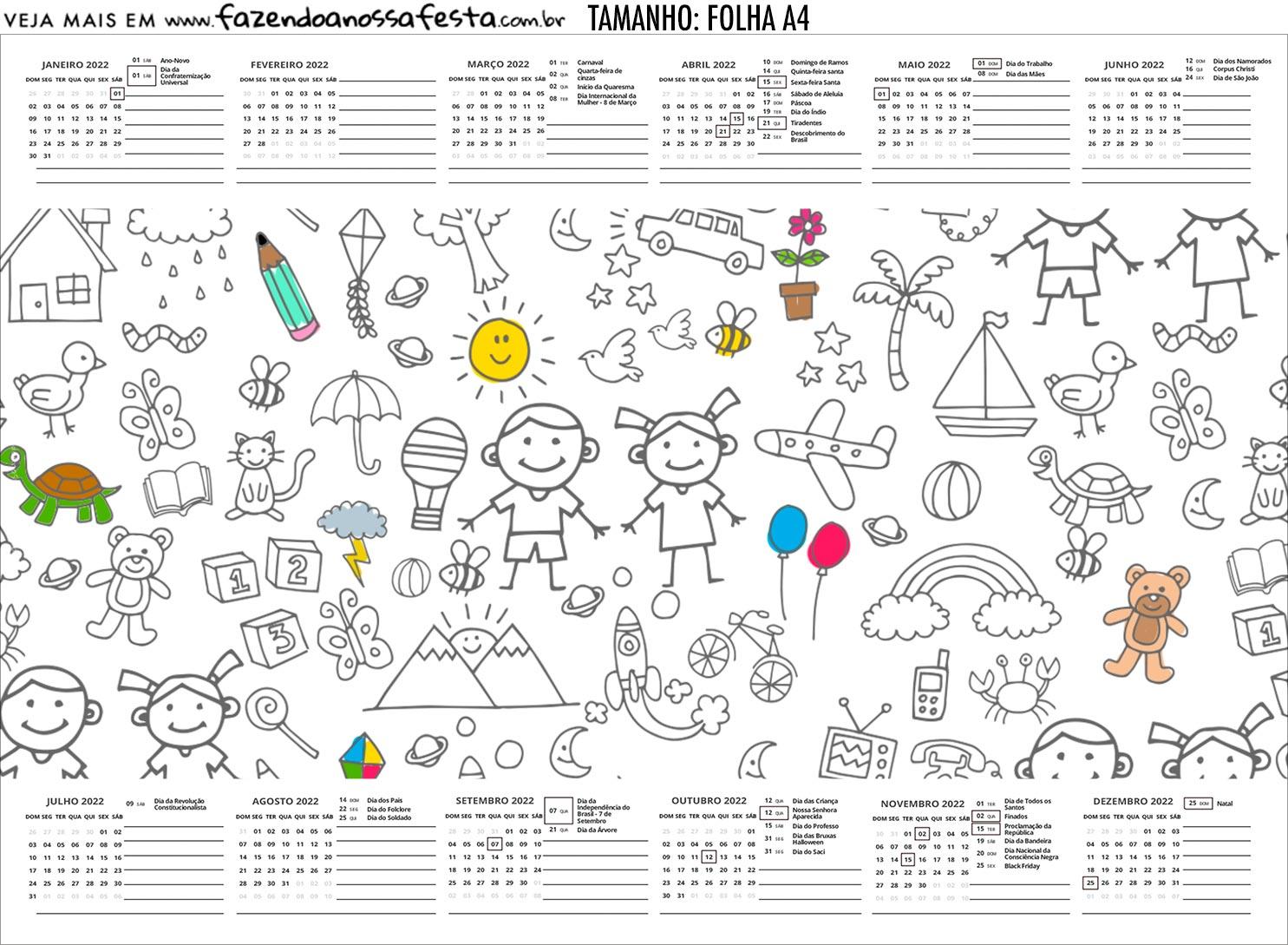 Calendario Personalizado 2020 Dia das Criancas para colorir