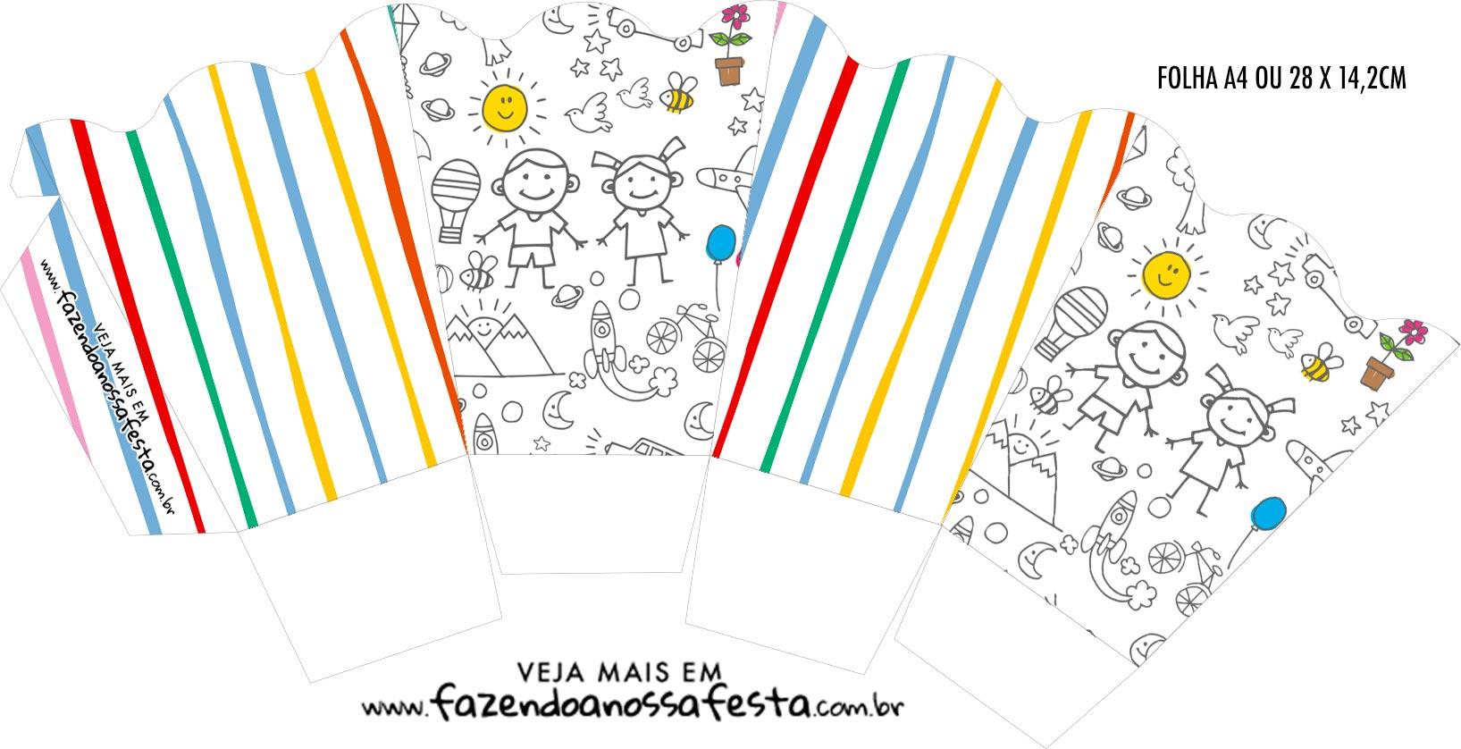 Chachepot centro de mesa Dia das Criancas para colorir