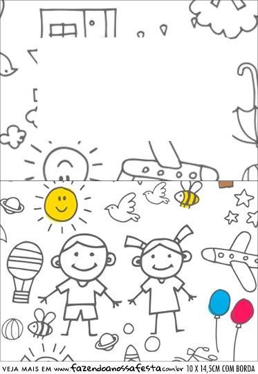 Plaquina de Mesa Triangular Dia das Criancas para colorir