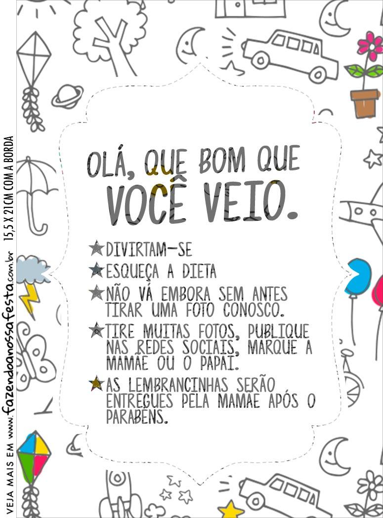 Recado de Mesa Dia das Criancas para colorir