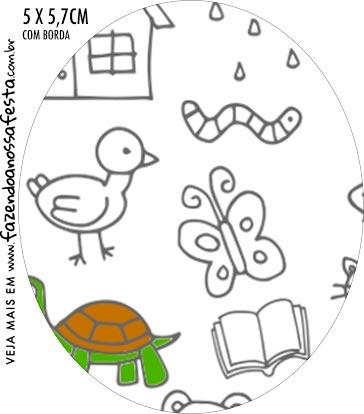 Rotulo Oval Dia das Criancas para colorir
