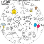 Rotulo Redondo Dia das Criancas para colorir