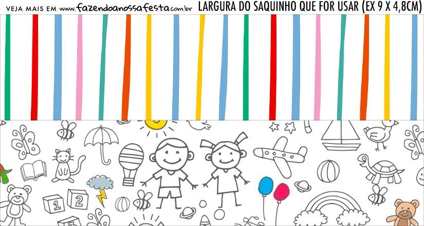 Rotulo Saquinho de Bala Dia das Criancas para colorir