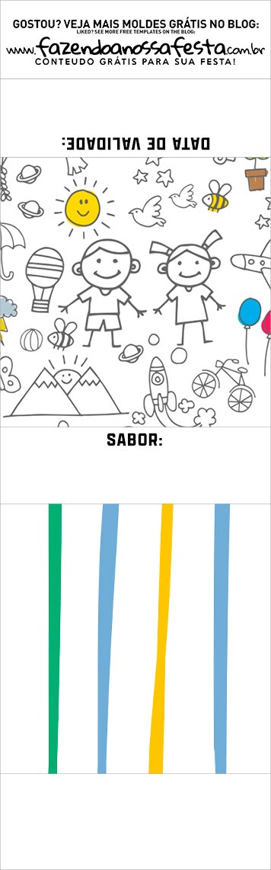 Rotulo para brownie Dia das Criancas para colorir