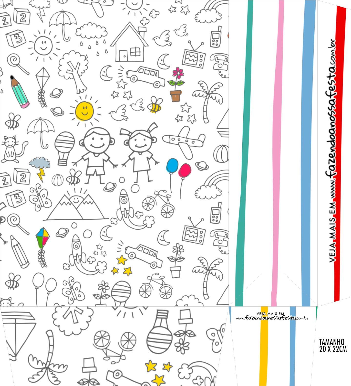 Sacolinha Supresa Kit Dia das Criancas para colorir