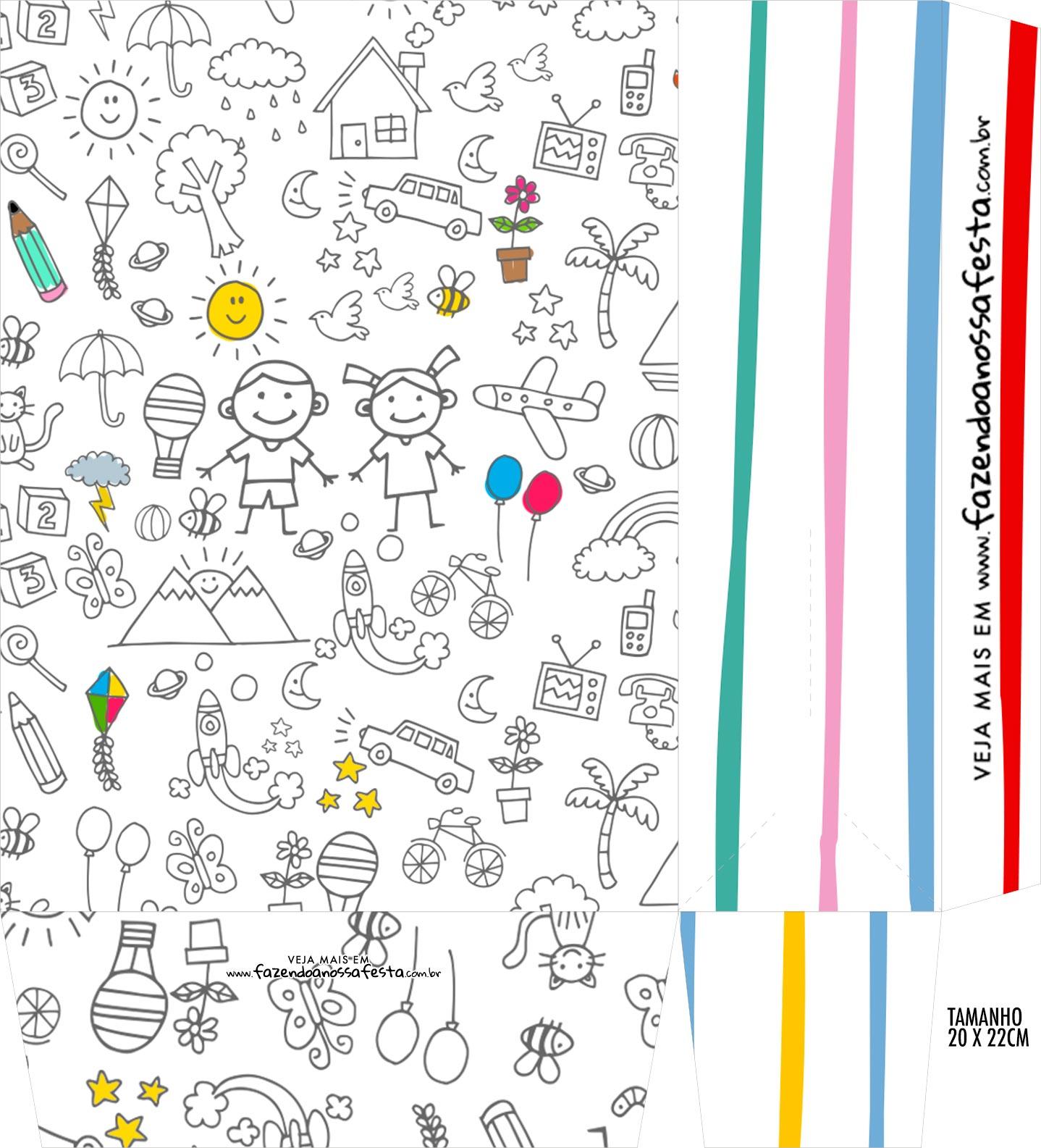 Sacolinha Surpresa Kit Dia das Criancas para colorir 2