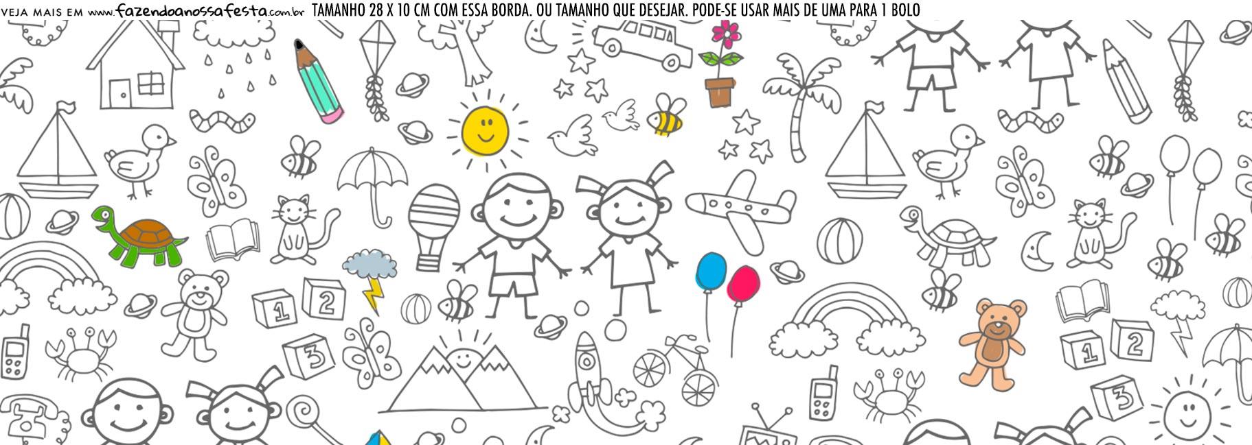 Saia Lateral de Bolo Dia das Criancas para colorir