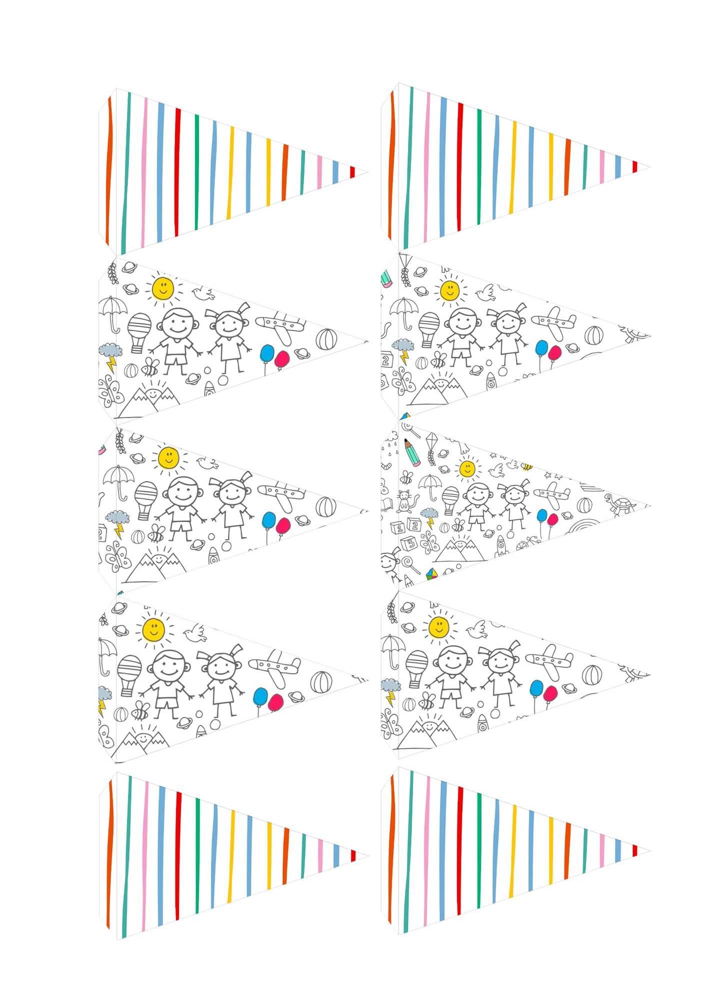Toppers Bandeirinha Kit Dia das Criancas para colorir