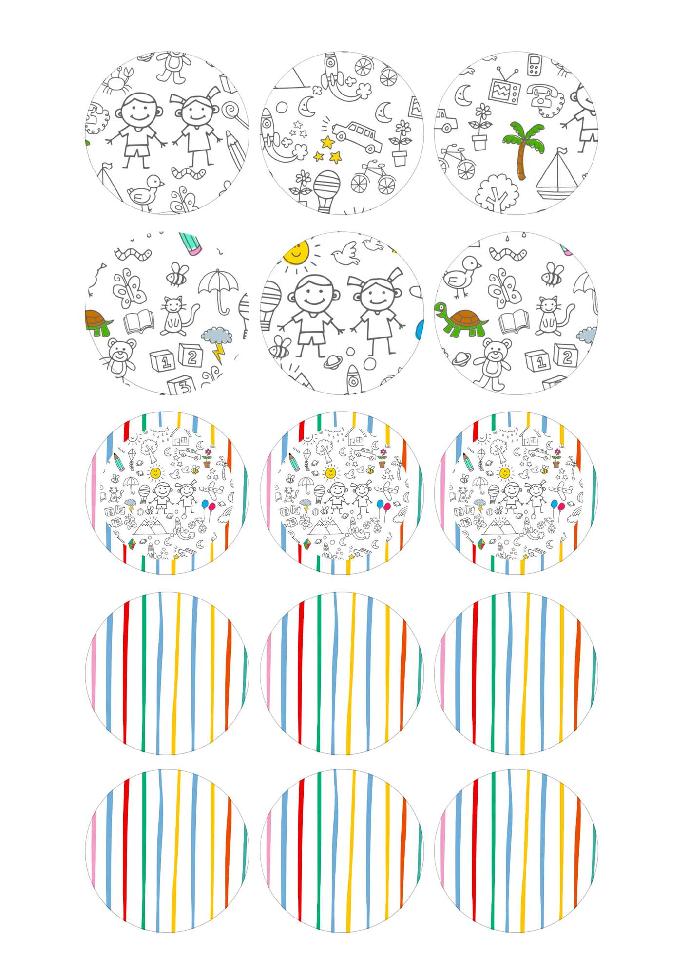 Toppers Redondos Kit Dia das Criancas para colorir
