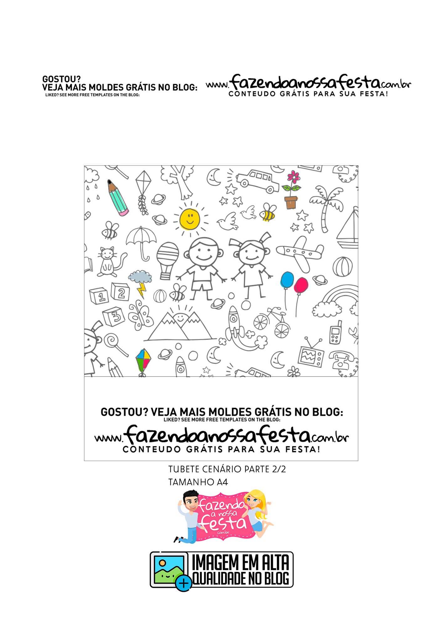 Tubete Cenario 2 Dia das Criancas para colorir