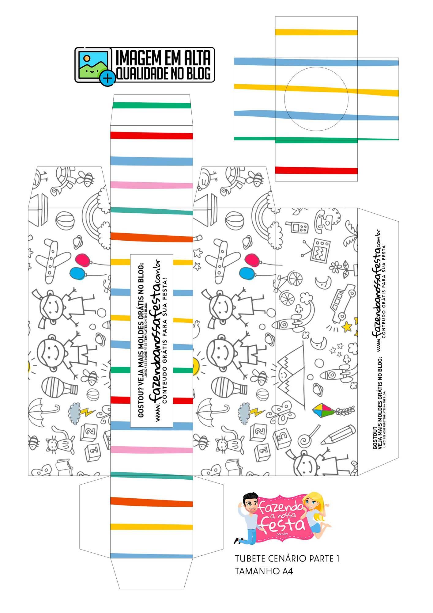 Tubete Cenario Dia das Criancas para colorir